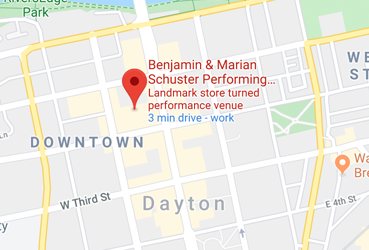 Mapp showing location of the Schuster Center in Downtown Dayton, Ohio.