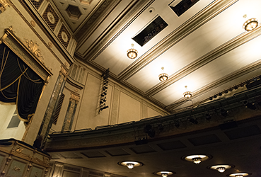 Looking up at the ceiling in the Victoria Theatre