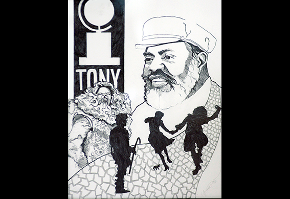Ted Ross Drawing by Yvette Dalton