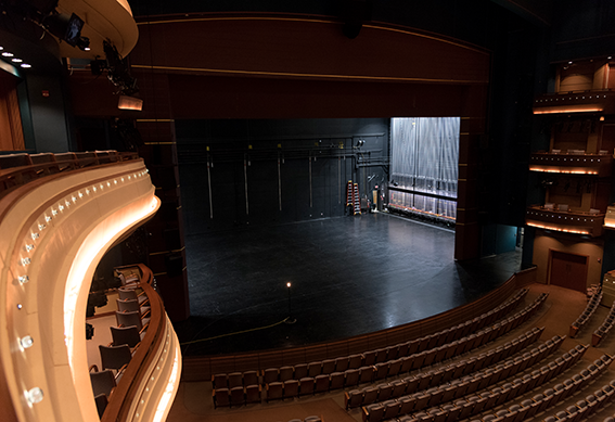 Mead Theatre stage with curtain opened as seen from the right balcony