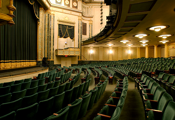 Victoria Theatre stage as seen from the right side of seating area