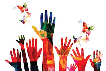 Colorful hands illustration