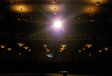 Ghost light on stage at the Victoria Theatre